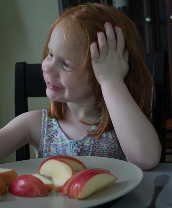 Clara enjoying an after-schools snack.