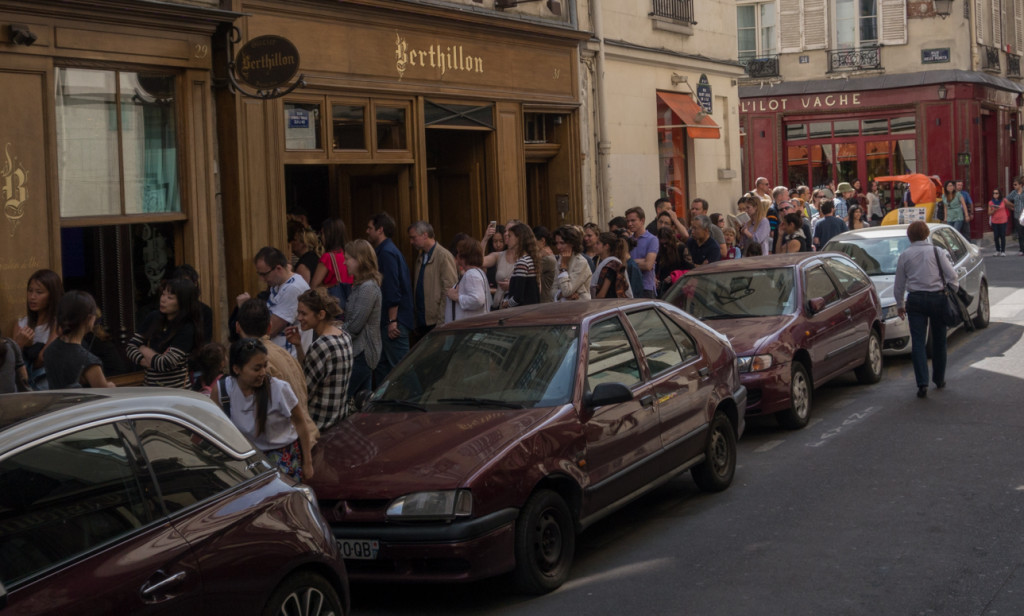 The line for Berthillon ice cream: out the door, down the street and around the corner.