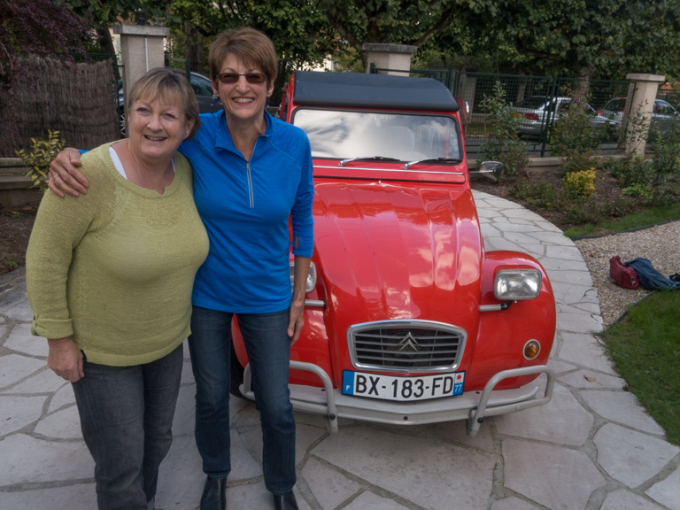 Helen, the 2CV's proud owner, and Laurie, celebrating a successful drive (meaning we returned in one piece even though I drove).