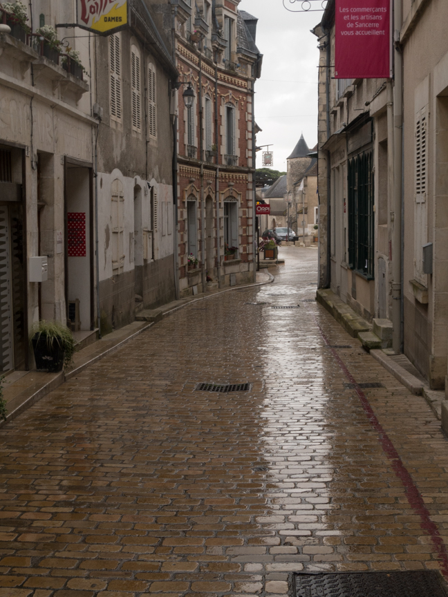 Now Sancerre is deserted and wet.