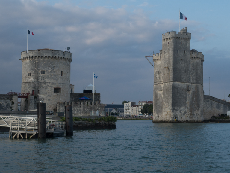 Coming into the La Rochelle harbor, a view seen by ships entering the harbor for hundreds of years.