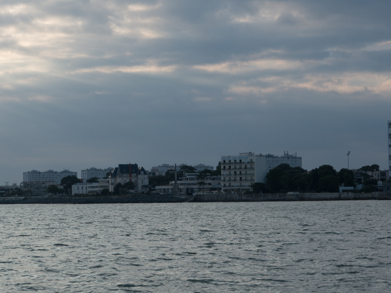 Our hotel, Les Brises, seen from the boat.
